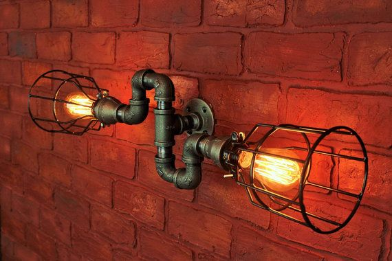 Steampunk Chandelier Electric wall sconce industrial by HanorManor