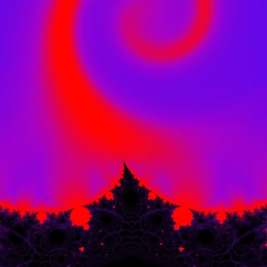 Magic forest in pink, purple, red and black - fractal by Tracey Lee Art Designs created in Ultra Fractal