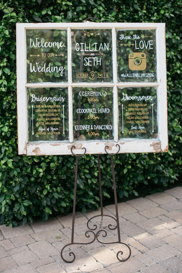 Wedding signage inspiration, shabby chic white window, schedule of events, wedding party names, wedding hashtag, learn more on borrowedandblue.com // Leo Cabal Photography