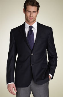 Black jacket grey slacks