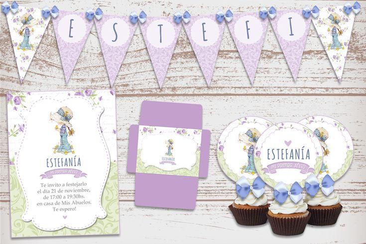 Kit Imprimible Sarah Kay, Bautismo, 1 añito, nacimiento, baby shower, cumpleaños de nena.