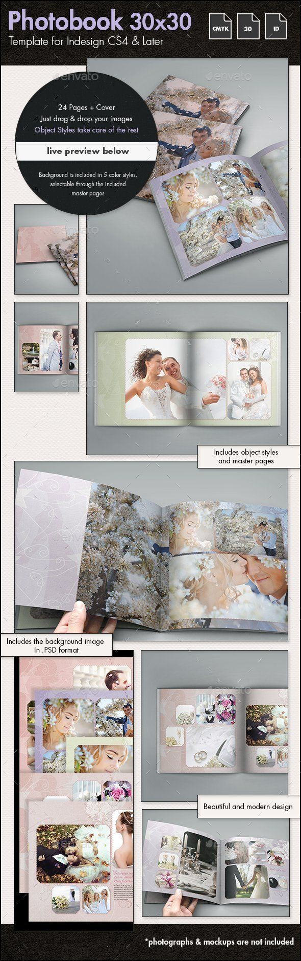 Photobook Wedding Album Template - 30x30cm