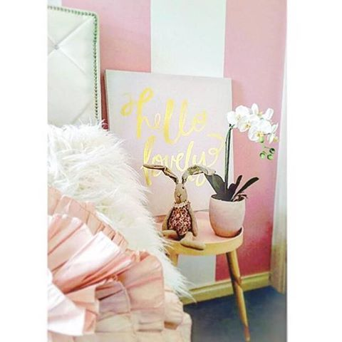 What a pretty in pink bedroom featuring our Hello Lovely canvas 💕 Shot via @bextas_home_life #pink #bedroom #homewares #dcbdesigns #shoplocal