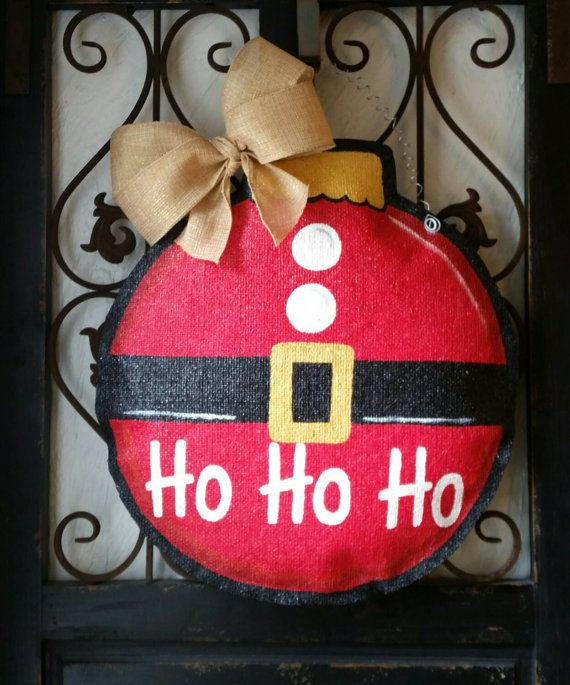 READY TO SHIP Christmas door hanger, hand painted burlap. Santa suit themed ornament