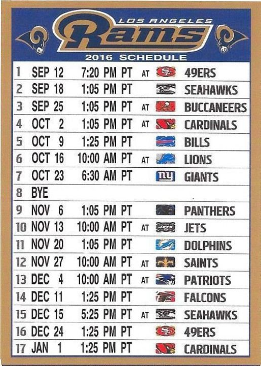 NEW LOS ANGELES RAMS 2016 PACIFIC TIME NFL SCHEDULE FRIDGE