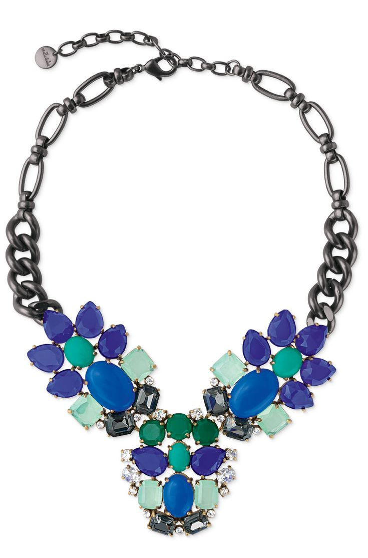 Stella & Dot Peacock Necklace   Turquoise, Blue & Purple Stone Statement Necklace
