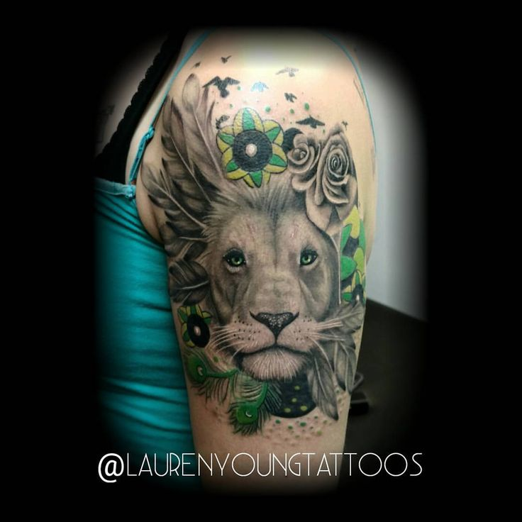"""65 Likes, 3 Comments - Lauren Young (@laurenyoungtattoos) on Instagram: """"Finished this last week, finally! Thanks for looking! Designed by yours truly. #liontattoo…"""""""