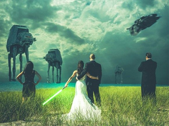 Photo editor Steven Kowalski altered this wedding photo for newlyweds Mindy and John to feature AT-AT's approaching the couple as they stand arm in arm, prepared to defend their wedding.