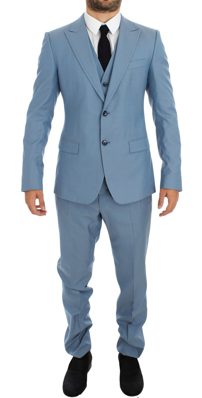 #DolceGabbana #Suits Blue Wool Silk Slim Fit 3 Piece Suit | #Blue  Dolce & Gabbana Suit Absolutely stunning, 100% Authentic, brand new with tags Dolce & Gabbana blue wool silk 2 button single breasted slim fit 3 piece Suit. This item comes from the exclusive MainLine Dolce & Gabbana collection. Color: Blue Style: Single breasted 3 piece suit; includes  Brands Vice