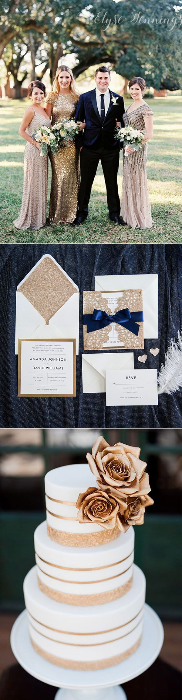 gorgeous modern vintage navy and rose gold laser cut wedding invitations