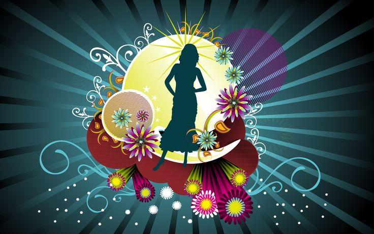 Women Abstract Flowers Silhouette Desktop