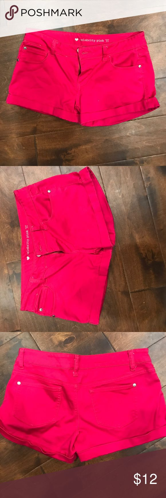 Hot Pink Shorts Never worn hot pink shorts!! Size 11 in juniors! Stretchy and soft material!! Great for the spring and summer! Celebrity Pink Shorts