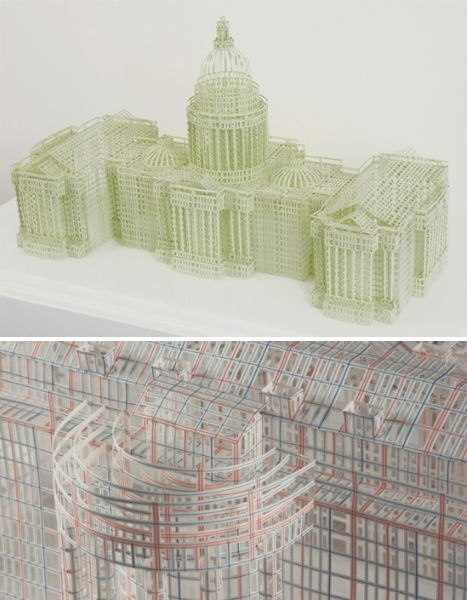 Jill Sylvia meticulously removes the blank entry blocks in ledger books and balance sheets, leaving behind nothing but delicate paper mesh. These geometric skeletons are then used to build amazing replicas of famous buildings like the U.S. Capitol and the White House.