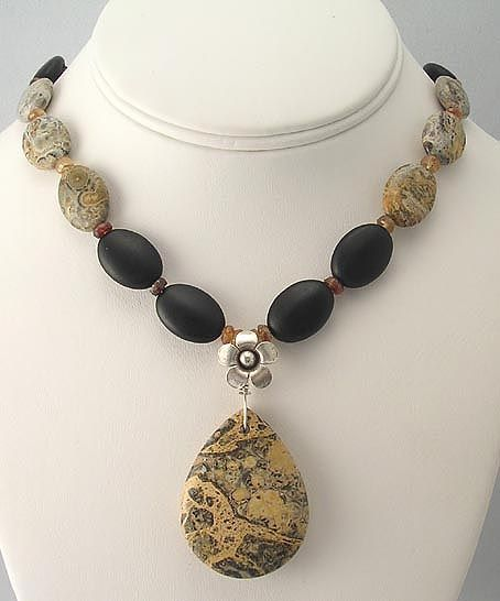 Yellow leopardskin jasper handmade necklace