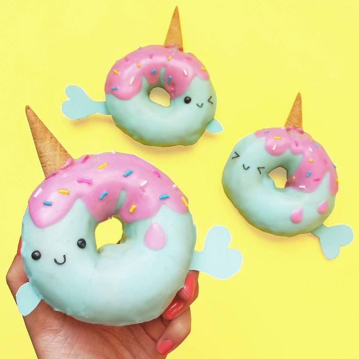 """Narwhal donuts! So cute! *sings* Narwhals, narwhals, swimming in the ocean, causing a commotion, 'cause they are so AWESOME... """""""