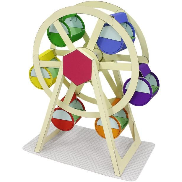 FREE tutorial and templates Amusement Park(Ferris wheel),Toys,Paper Craft,white,amusement park,town