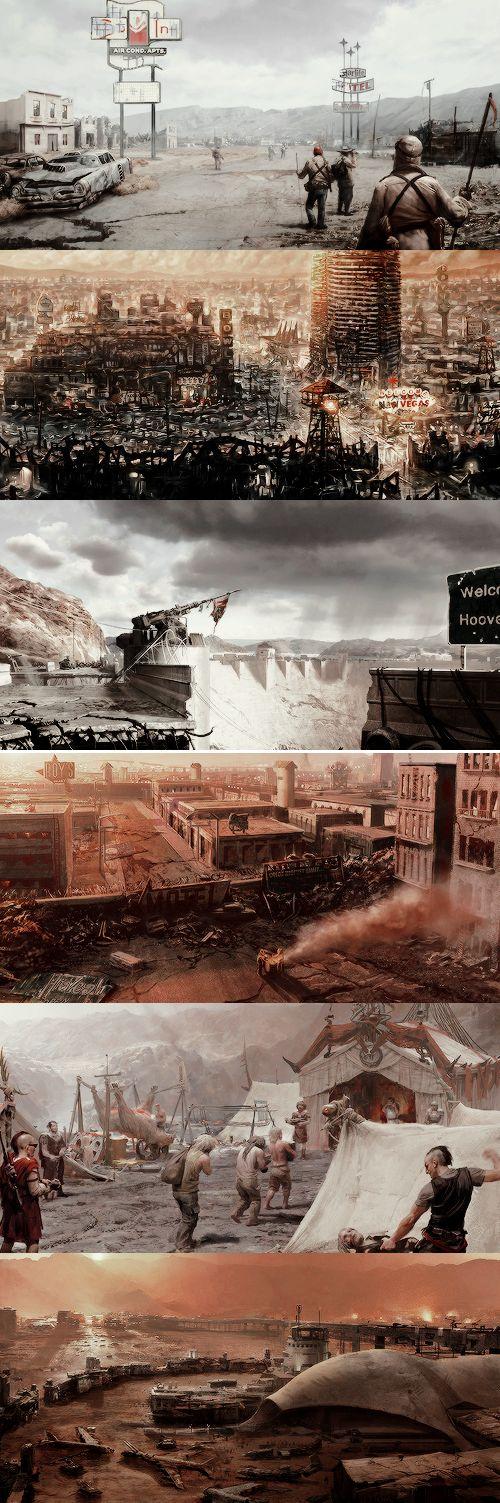 Fallout: New Vegas location concept art → settlers, New Vegas, Hoover Dam, Freeside, The Fort, Camp McCarran