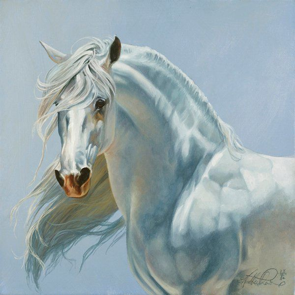 Heather Theurer white gray horse art.  Lighting for the gray horse.  This is beautiful. I don't know if the light source is the right angle.