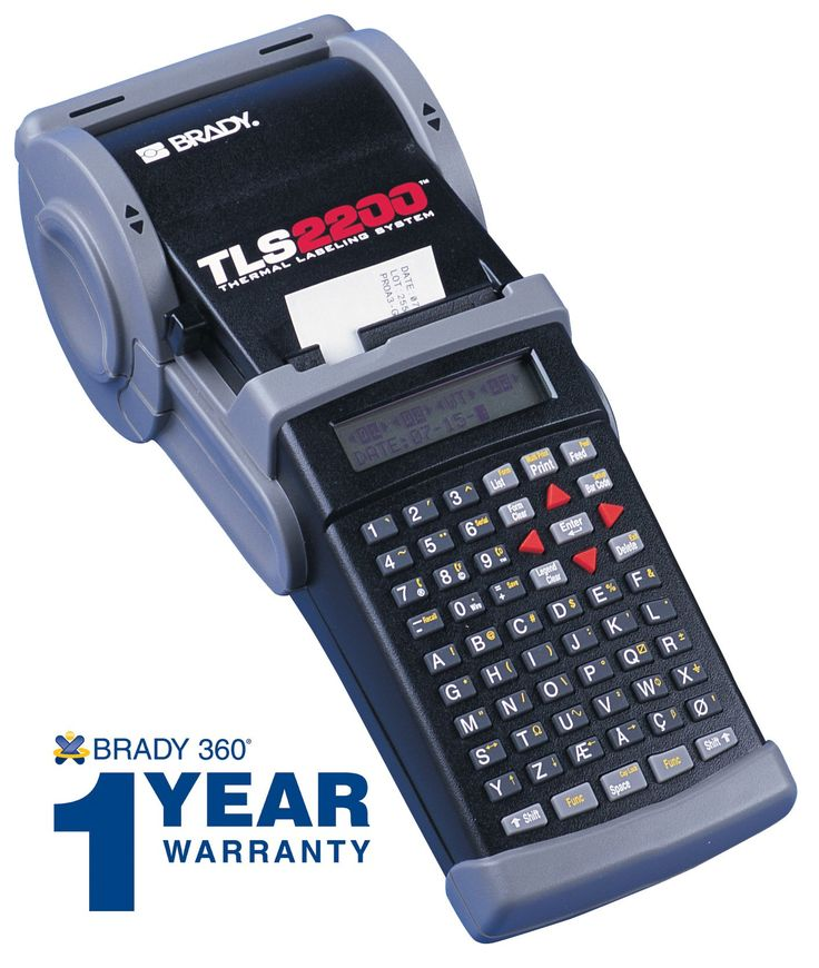 """Brady TLS2200 Thermal Labeling System. Portable label printer is a labeling tool for identifying a variety of items, like cables, file folders, and equipment. Prints on continuous tape and die cut labels. 203 dpi thermal transfer printing stays crisp and bright longer than direct thermal printing. TrueType fonts from 4 to 72 point, on materials up to 2"""" wide and print length up to 54"""". ABC keyboard for simplicity. Printer Includes a 1 Year Limited warranty."""