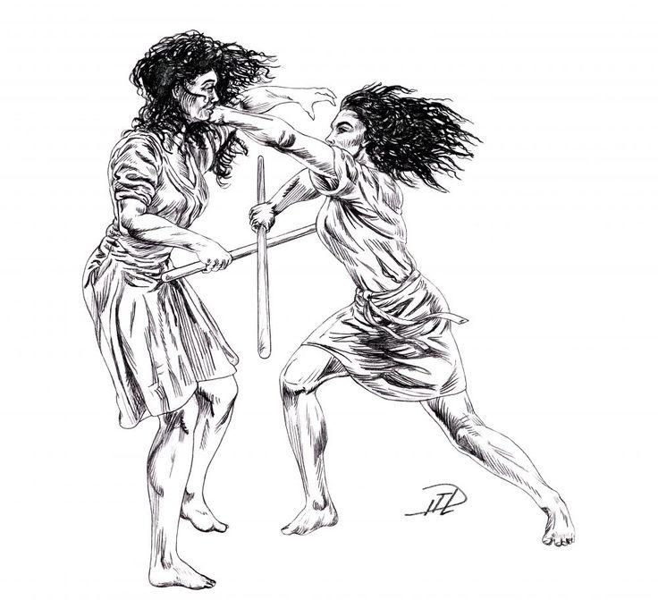 Kati and Corinna sparring sketch: left hook. See original at https://paulusindomitus.files.wordpress.com/2017/05/kati-slc3a5r-ner-corinna-skiss-knock-down-warrior-women-kontrastmod-e1495055265690.jpg