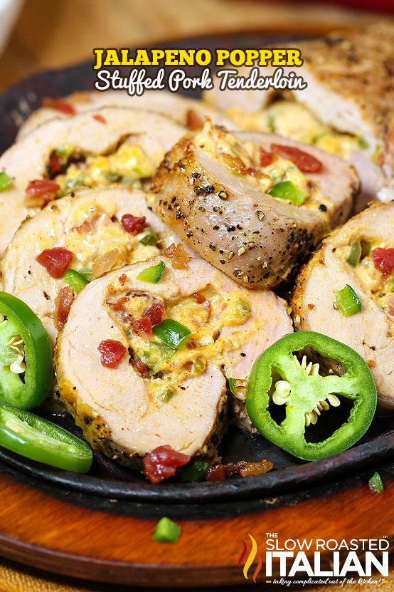 Jalapeno Popper Stuffed Pork Tenderloin #pork #recipes