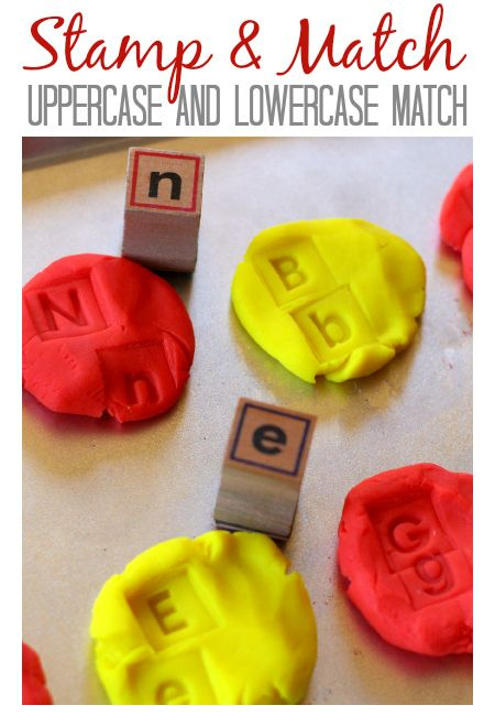 Match upper and lowercase letters with this playdough activity.