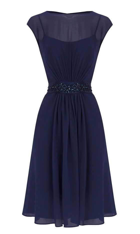 Coast Midnight Blue Chiffon Dress