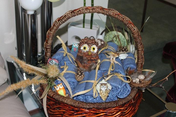 Owl basket (w/ jean diapers)