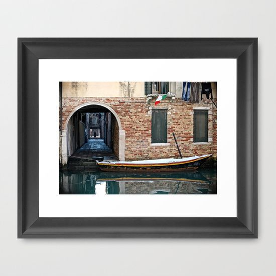 "FRAMED FINE ART PRINT /  WALNUT (12"" X 10"") Winter Venice Canal by LaCatrina.it"