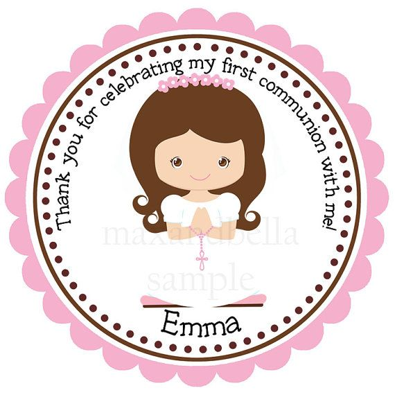 Personalized Communion Stickers,Gift Tags, Party Favors, Address Labels, Birthday Stickers - Set of 12