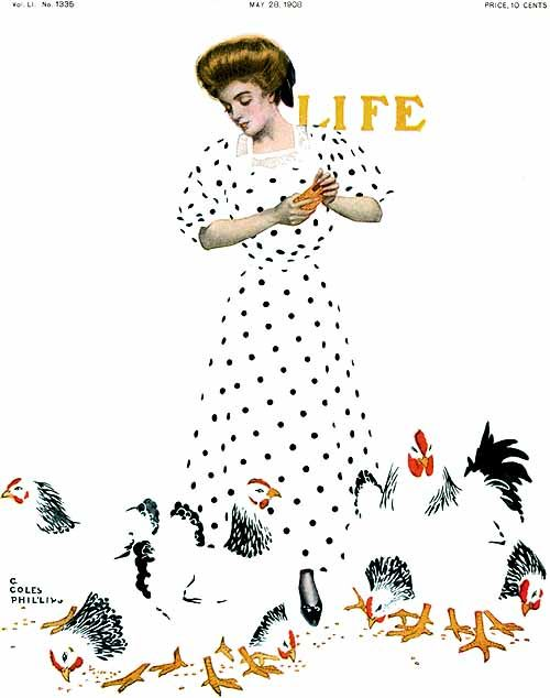Coles Phillips (American artist, illustrator; 1880-1927) ~ Life Magazine fade-away girl and chickens cover