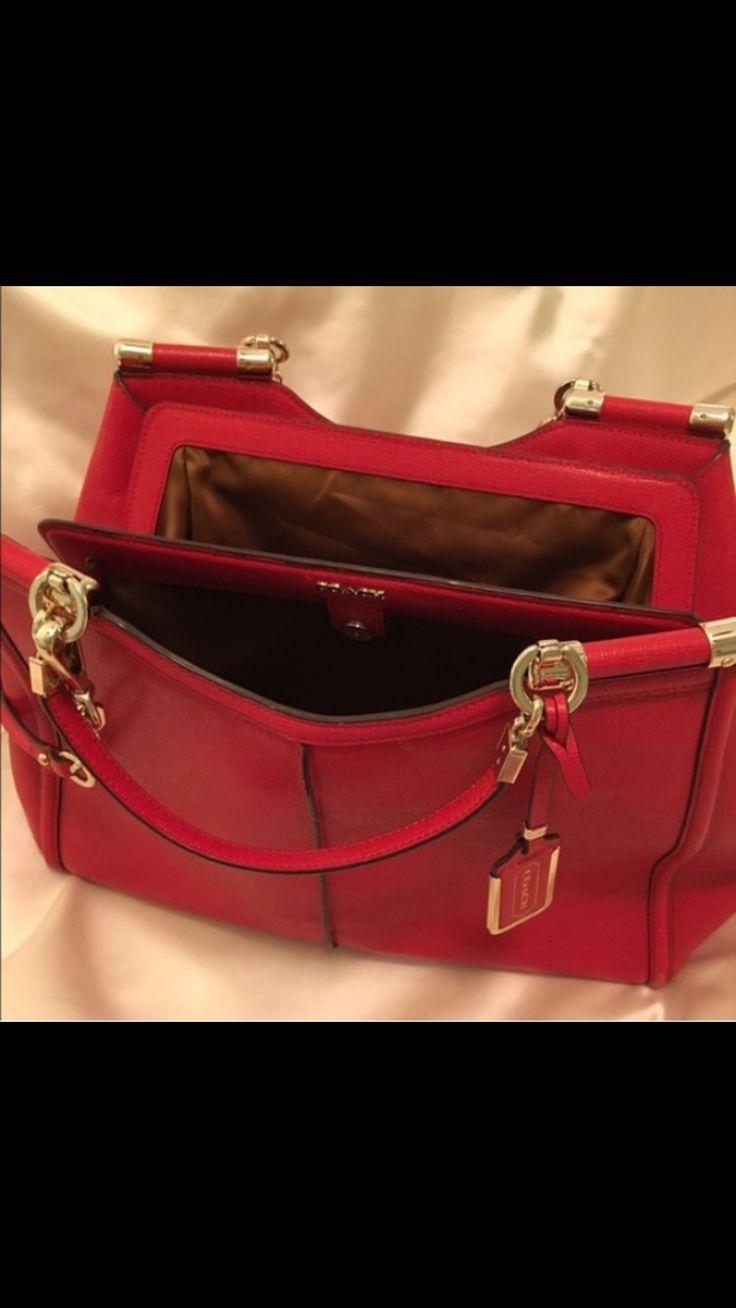 Coach Madison Caroline Satchel Textured Leather Vermillion Red  $ 670