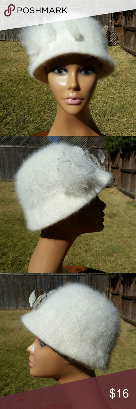 Morgan De Toi Hat Gorgeous soft white hat with feathers, Made in Italy Elastic band inside to stay in place. Morgan De Toi  Accessories Hats
