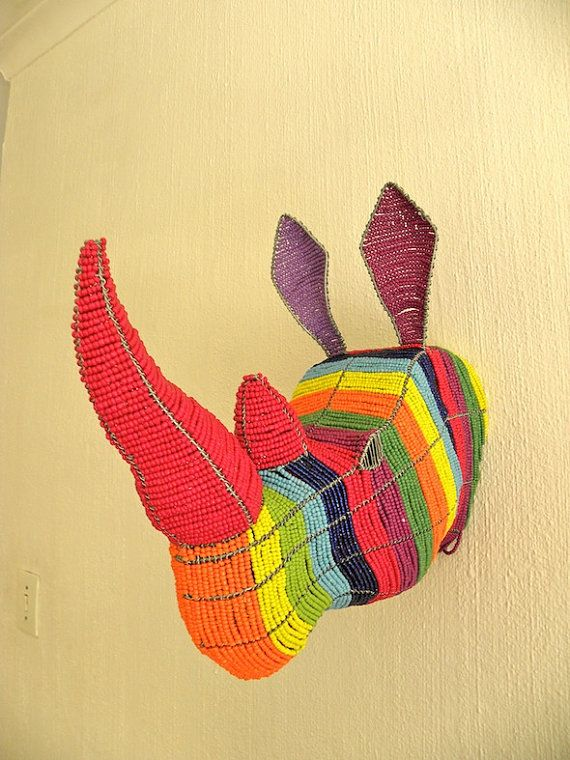 African Beaded Wire Animal Sculpture  RHINO HEAD  by Hadeda, $259.00