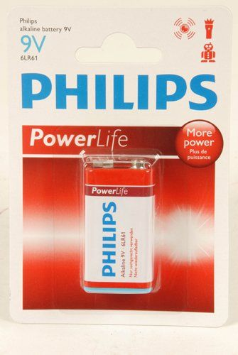 Philips Power Alkaline Batterijen (9V 6LR61)