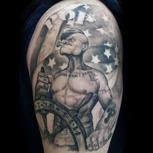 American Flag Popeye Upper Arm Guys Tattoos