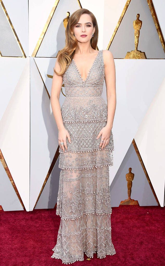 Zoey Deutch from Standout Style Moments From Oscars 2018  The Before I Fall actress wore a sheer, tiered Elie Saab dress with beaded accouterments.
