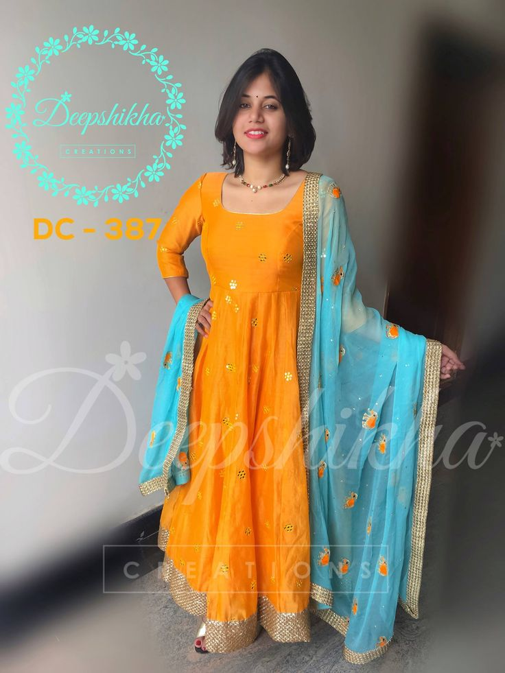 Beautiful floor length dress with sea blue color net duppata.  DC - 387  For queries kindly whatsapp: +91 9059683293