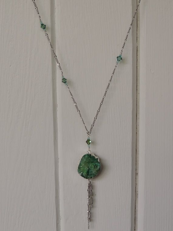 silver necklace with turquoise druzy by twinflowersjewelry on Etsy