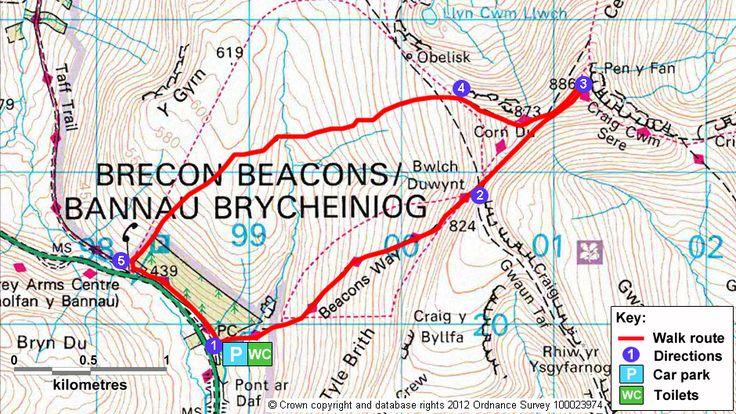 Map route for Pen y Fan and Corn Du circular walk