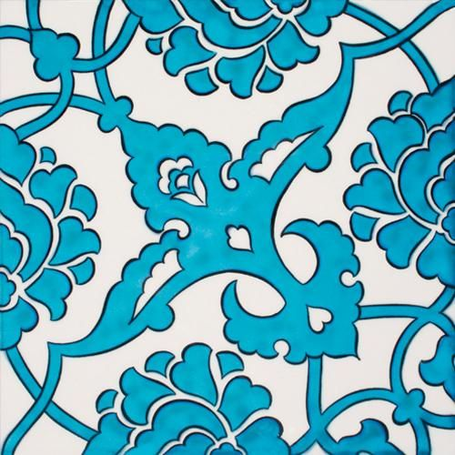 Modern iznik tile, turkish blue and white floral or leaf pattern.