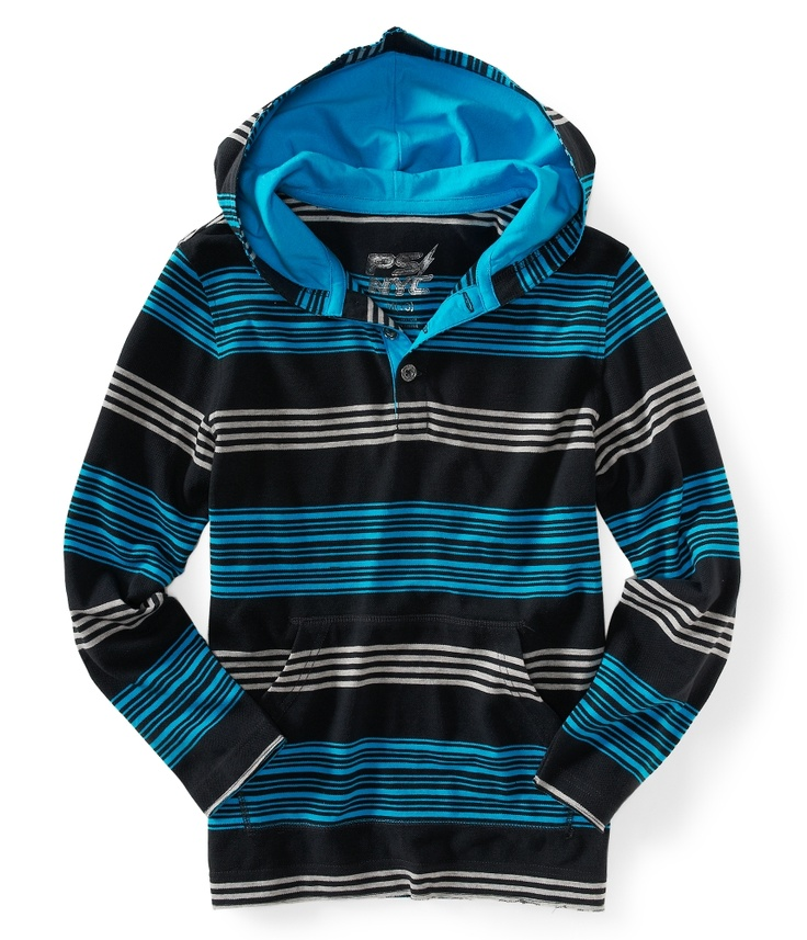 Kids' Striped Skate Henley Hoodie - PS From Aeropostale