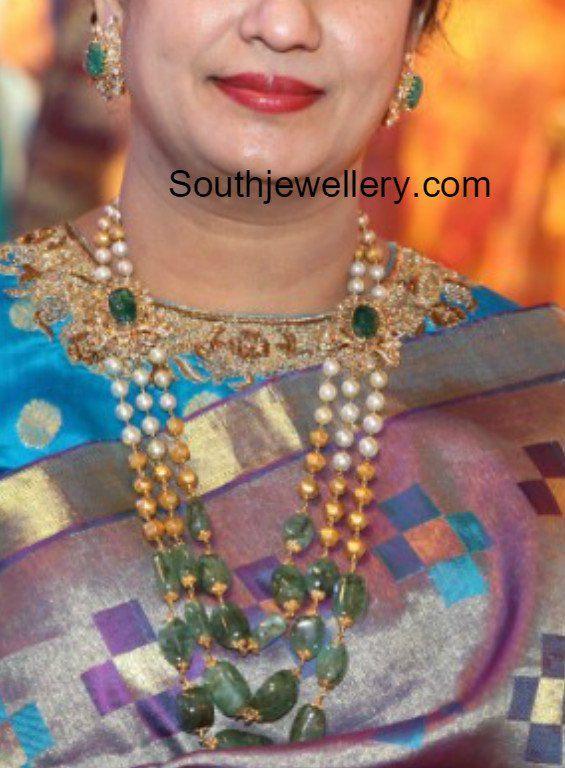 South Sea Pearls and Emerald Beads Mala