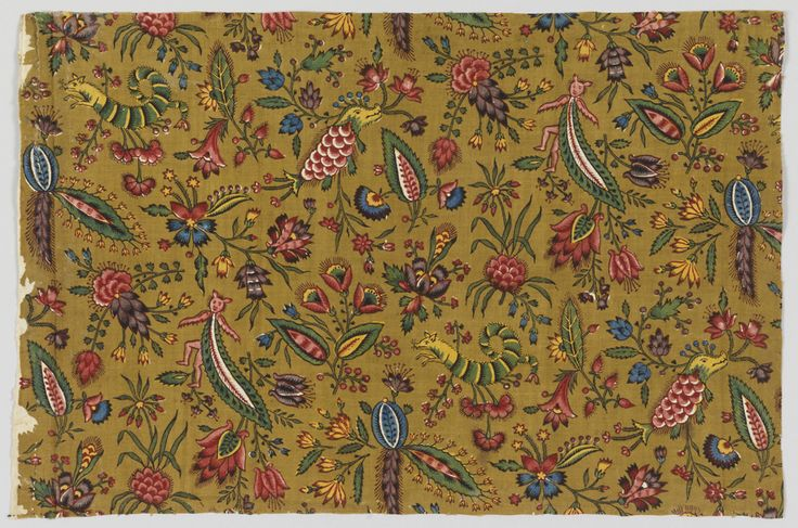 * Cotton, ca. 1792  block printed with some colors applied by brush, on plain weave foundation