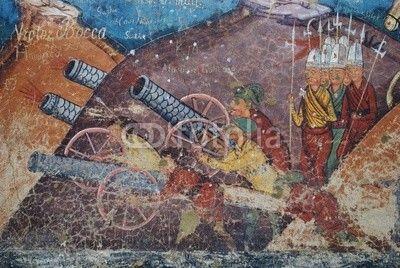 "Moldovita's monastery , Unesco Heritage, closeup shot over  the fresco "" Siege of Constantinople"""