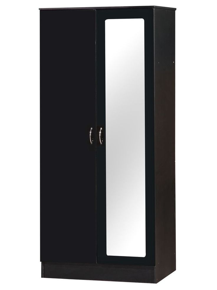 2 Door Mirrored Wardrobe Closet Clothes Storage Cabinet Bedroom Black Gloss Mat