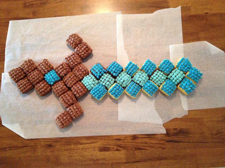 Minecraft Diamond Sword Pull Apart Cupcakes.  Made using square cupcake tin.