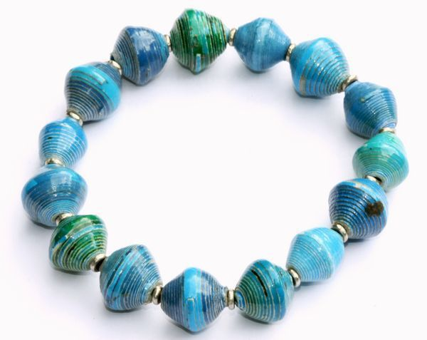 Recycled Paper Stretch Bracelet - Cool Blues at www.theecotopia.com