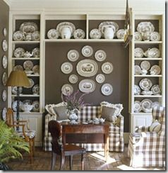 who says you can never have too many transferware plates!!  love the contrast on the painted wall!