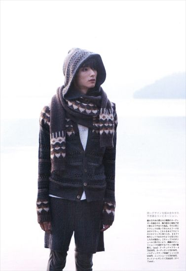 (Source: bnm-jp.com) dark mori boy, layers, cardigan, scarf, hooded, tomboy, gender neutral fashion, knitted